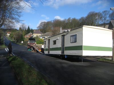 tatic caravan leaving our building site